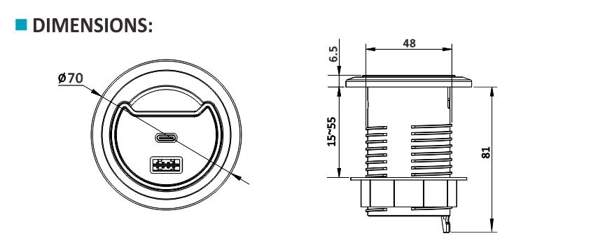 Ổ cắm âm bàn sinoamigo STC-1/C66 Hàng cao cấp