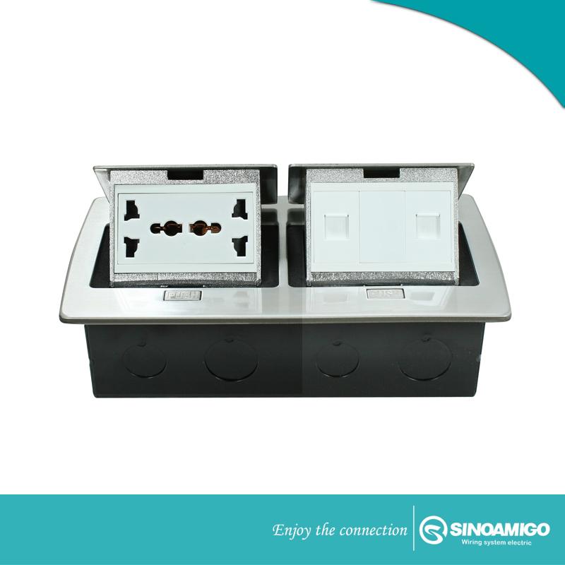 Ổ  Điện âm sàn đôi SINO AMIGO SPU-52S màu bạc