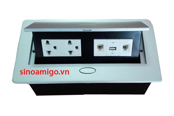 Ổ cắm âm bàn sinoamigo STS-201U gồm ( 2 ổ điện 3 chấu ,1 ổ mạng+ 1 thoại + 1 USB)